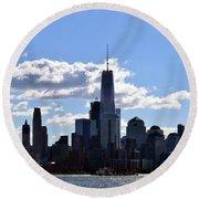 Manhattan Skyline No. 17-1 Round Beach Towel by Sandy Taylor