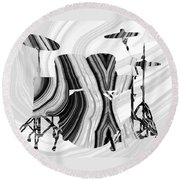 Marbled Music Art - Drums - Sharon Cummings Round Beach Towel by Sharon Cummings