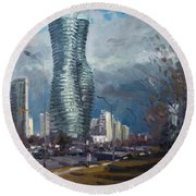 Marilyn Monroe Towers Mississauga Round Beach Towel by Ylli Haruni
