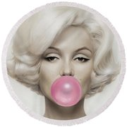 Marilyn Monroe Round Beach Towel by Vitor Costa