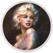 Marilyn Romantic Ww 1 Round Beach Towel by Theo Danella