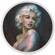 Marilyn Romantic Ww Dark Blue Round Beach Towel by Theo Danella