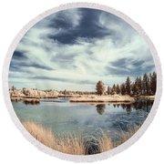 Marshlands In Washington Round Beach Towel by Jon Glaser