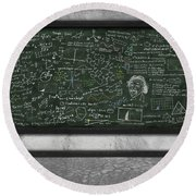 Maths Formula On Chalkboard Round Beach Towel by Setsiri Silapasuwanchai
