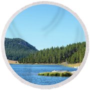 Meadowlark Lake View Round Beach Towel by Jess Kraft