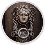 Medusa Head Door Knocker Round Beach Towel by Edward Fielding