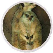 Meerkats Round Beach Towel by Jack Zulli