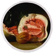 Melons And Morning Glories  Round Beach Towel by Raphaelle Peale
