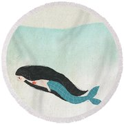 Mermaid Round Beach Towel by Carolina Parada