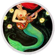 Mermaids Rock Tiki Guitar Round Beach Towel by Sue Halstenberg