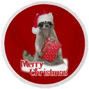 Merry Christmas -  Raccoon Round Beach Towel by Gravityx9 Designs