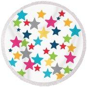 Messy Stars- Shirt Round Beach Towel by Linda Woods