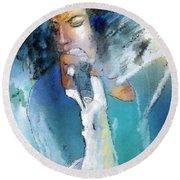 Michael Jackson 04 Round Beach Towel by Miki De Goodaboom