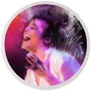 Michael Jackson 11 Round Beach Towel by Miki De Goodaboom
