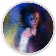 Michael Jackson 16 Round Beach Towel by Miki De Goodaboom