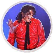 Michael Jackson 2 Round Beach Towel by Paul Meijering