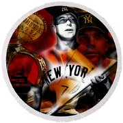Mickey Mantle Collection Round Beach Towel by Marvin Blaine