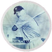 Mickey Mantle Round Beach Towel by Miguel Lopez