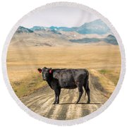 Middle Of The Road Round Beach Towel by Todd Klassy