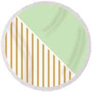 Mint And Gold Geometric Round Beach Towel by Linda Woods