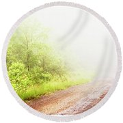 Round Beach Towel featuring the photograph Misty Back Road, Pocono Mountains, Pennsylvania by A Gurmankin