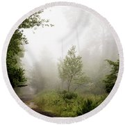 Round Beach Towel featuring the photograph Misty Road At Forest Edge, Pocono Mountains, Pennsylvania by A Gurmankin
