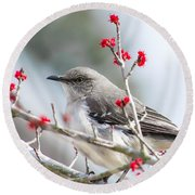Mockingbird In The Blossoms Round Beach Towel by Shelby  Young