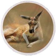 Monday Morning Drowsies Kangaroo Art Round Beach Towel by Jai Johnson