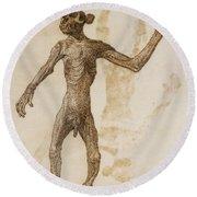 Monkey Standing, Anterior View Round Beach Towel by George Stubbs