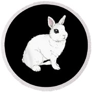 Monochrome Rabbit Round Beach Towel by Katrina Davis