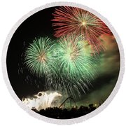 Montreal-fireworks Round Beach Towel by Mircea Costina Photography