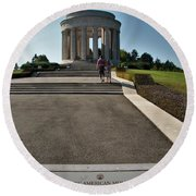 Round Beach Towel featuring the photograph Montsec American Monument by Travel Pics