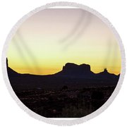 Round Beach Towel featuring the photograph Monument Valley Sunrise, Utah by A Gurmankin