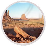 Round Beach Towel featuring the photograph Monument Valley, Utah by A Gurmankin