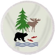 Moose And Bear Pattern Art Round Beach Towel by Christina Rollo