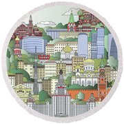 Moscow City Poster Round Beach Towel by Pablo Romero