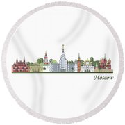 Moscow Skyline Colored Round Beach Towel by Pablo Romero