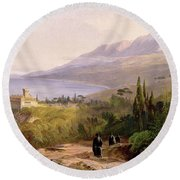 Mount Athos And The Monastery Of Stavroniketes Round Beach Towel by Edward Lear