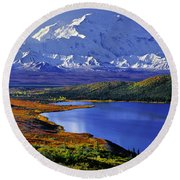Mount Mckinley And Wonder Lake Campground In The Fall Round Beach Towel by Tim Rayburn