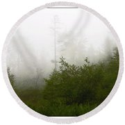 Round Beach Towel featuring the photograph Mountain Forest Thicket In Fog by A Gurmankin