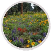 Mountain Wildflowers Round Beach Towel by Leland D Howard