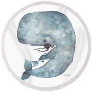 My Whale Round Beach Towel by Soosh