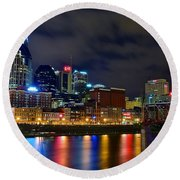 Nashville After Dark Round Beach Towel by Frozen in Time Fine Art Photography