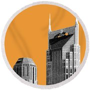 Nashville Skyline At And T Batman Building - Orange Round Beach Towel by DB Artist