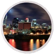 Nashville Skyline Round Beach Towel by Frozen in Time Fine Art Photography