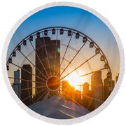 Navy Pier Sundown Chicago Round Beach Towel by Steve Gadomski