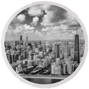 Near North Side And Gold Coast Black And White Round Beach Towel by Adam Romanowicz