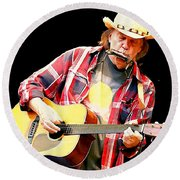 Neil Young Round Beach Towel by John Malone