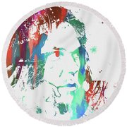 Neil Young Paint Splatter Round Beach Towel by Dan Sproul