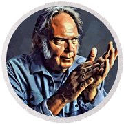 Neil Young Portrait Round Beach Towel by Scott Wallace